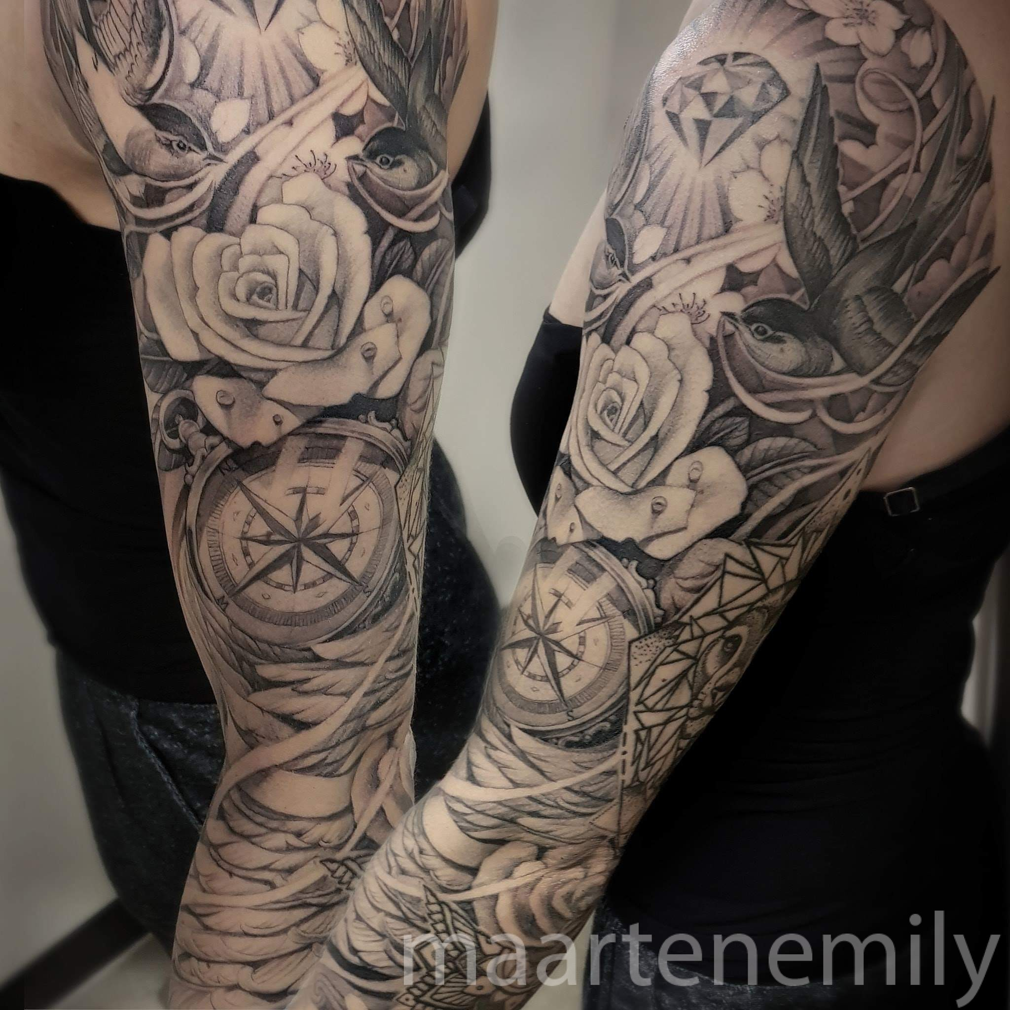 Compass, roses and feathers tattoosleeve