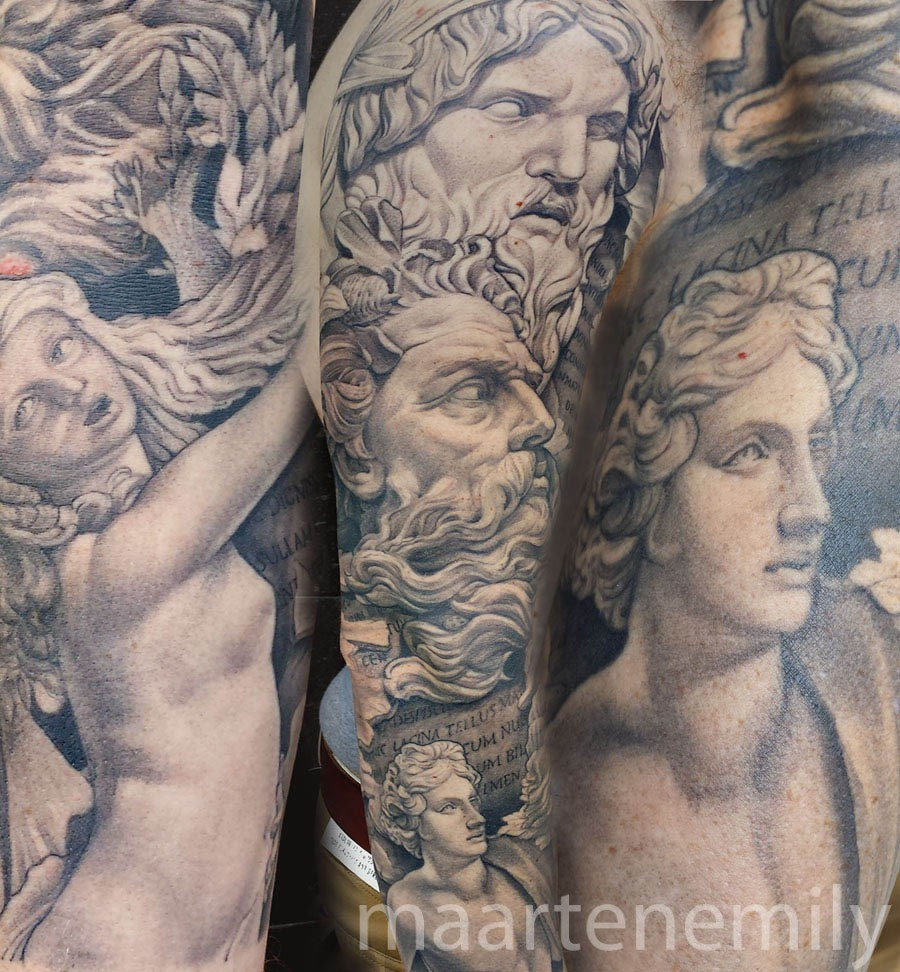 3D statue arm tattoos by maarten