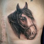 realistic portrait of horse, tattoos by maarten