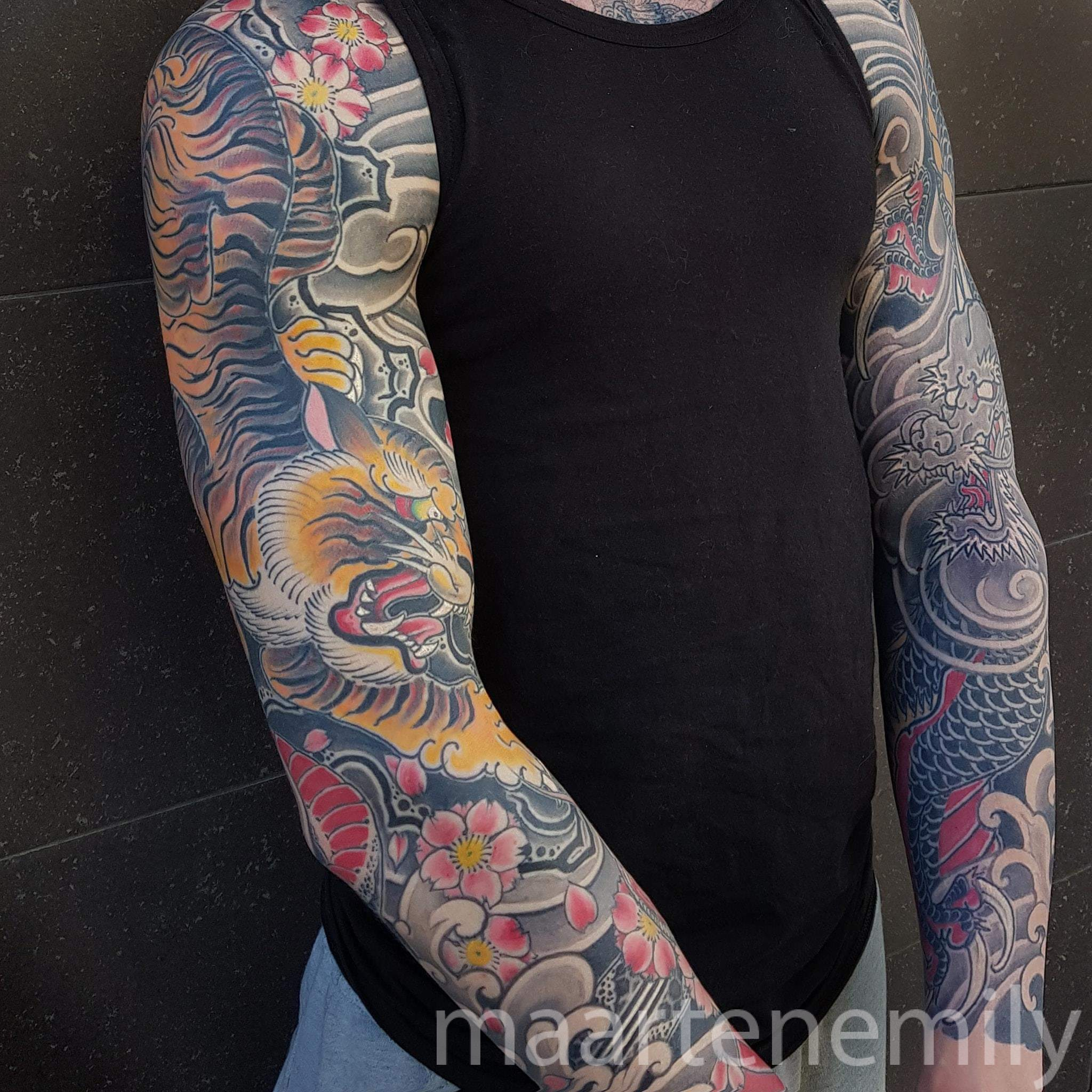 Japanese tattoosleeves designed by Maarten