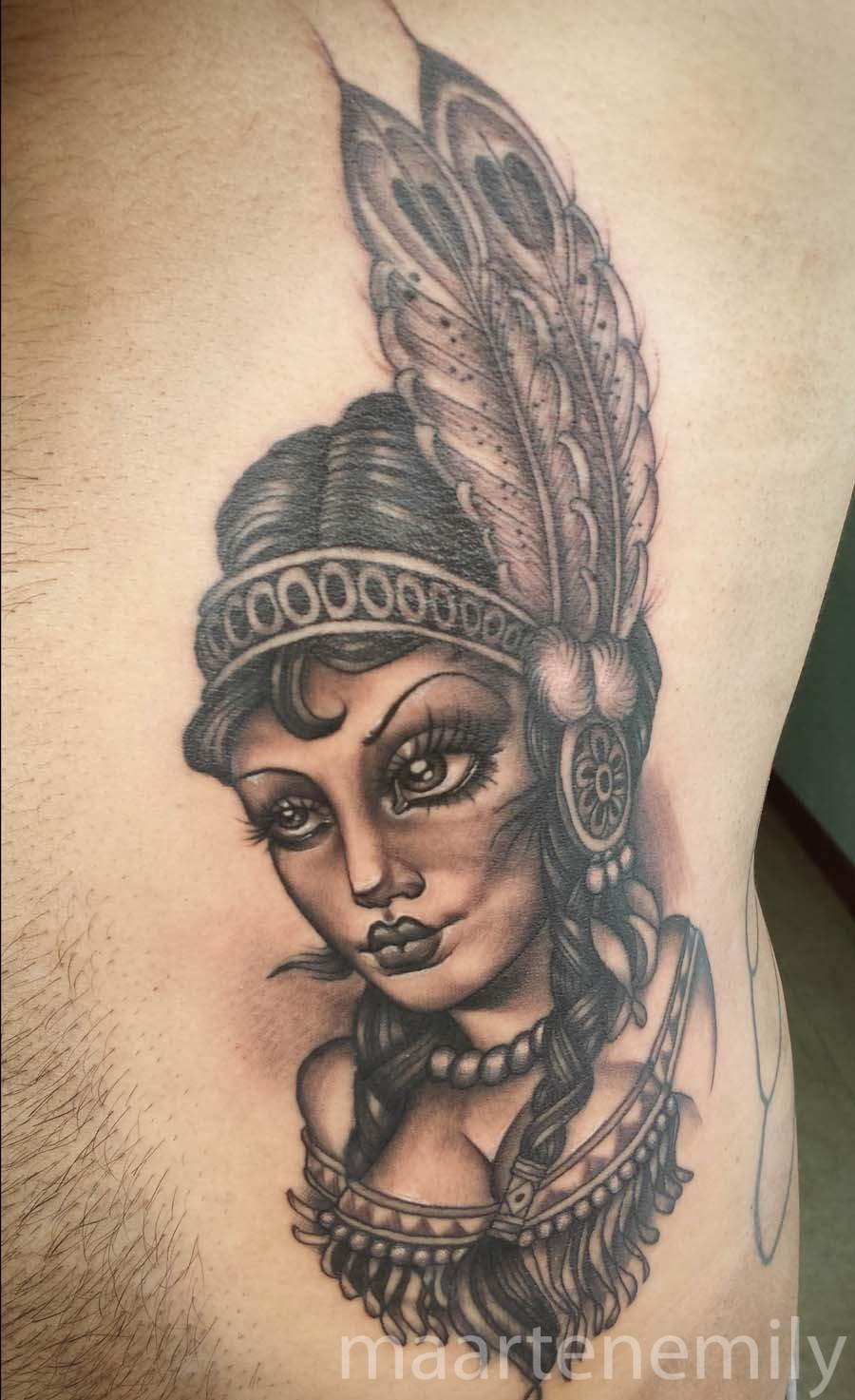 tattoos design by maarten neotraditional indian girl
