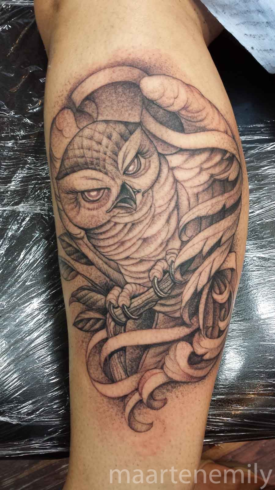 tattoos design by maarten 1 needle owl in the wind
