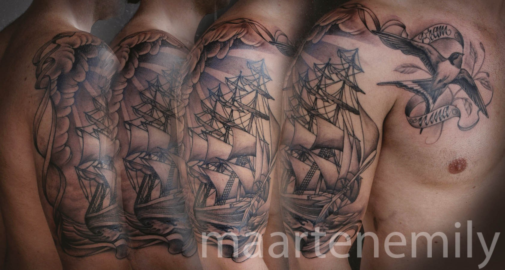 sailboat in storm tattoos design by maarten