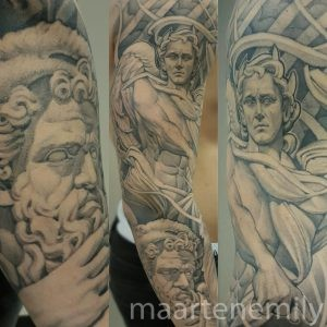 Singleneedle Angel tattoo designed and tattooed by maarten