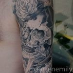 freehand skull full arm design by maarten