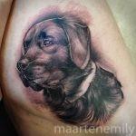 realistic portrait of dog tattoos by maarten