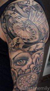 money over bitches beautiful tattoos design by maarten
