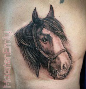 realistic portrait of horse, tattoos by maarten