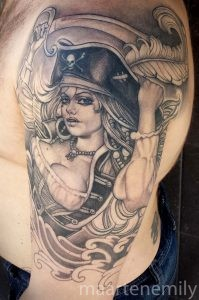 big boobed pirate lady tattoos by maarten