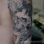 freehand skull full arm design by maarten
